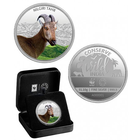 MMTC PAMP The Nilgiri Tahr Silver Coin Silver Coin Of  Conserve Wild India 2018 Series 1 oz / 31.10 gm 999.9 Purity