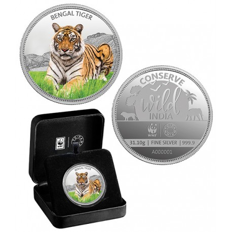 MMTC PAMP The Bengal Tiger Silver Coin Of Conserve Wild India 2018 Series 1 oz / 31.10 gm 999.9 Purity