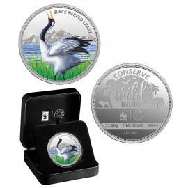 MMTC PAMP The Back Necked Crane Silver Coin of Conserve Wild India 2018 Series 1 Oz / 31.10 gm 999.9 Purity