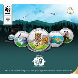 MMTC PAMP 999.9 Silver Coin 1 oz / 31.10 gm Conserve Wild India 2018 Series Set of Four