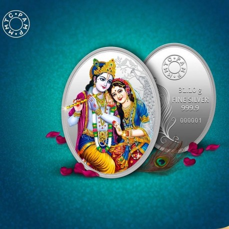 MMTC-PAMP 999.9 Silver Coin Oval Shape 1 oz / 31.10gm The Radha Krishna