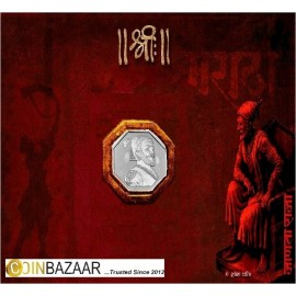 Rajmudra of Shivaji Emperor Silver Coin of 10 Gram in 999 Purity / Fineness by Coinbazaar