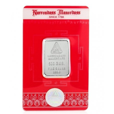 Narrondass Manordass Silver Bar Of 500 Grams in 999 Purity