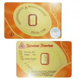 Narrondass Manordass Gold Bar Of 1 Grams in 995 24Kt Purity Fineness