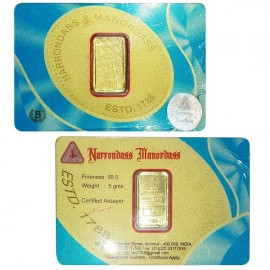 Narrondass Manordass Gold Bar Of 5 Grams in 995 24Kt Purity Fineness