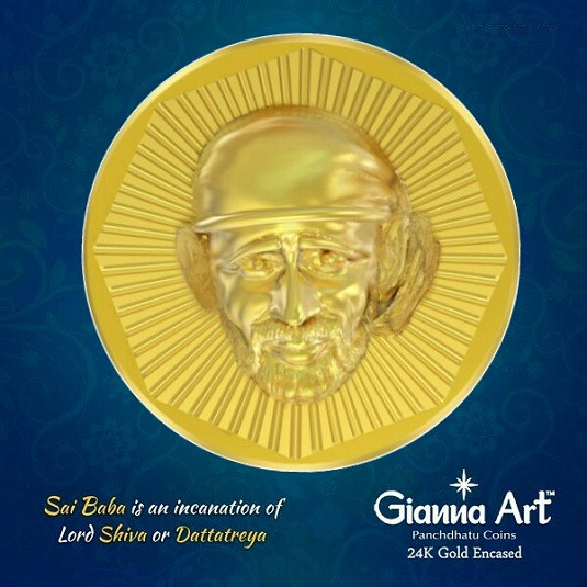 Buy Sai Baba Panchdhatu Coins Fusion of Gold Silver Copper Tin and Zinc By  Gianna Art Online at Low Price in India Today
