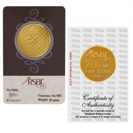 RSBL Gold Coin 20 Grams 24Kt Gold 995 Purity Fineness - 20 gm / 20 gms