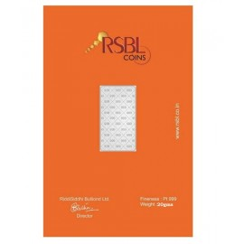 RSBL Platinum Bar Of 20 Gram 999 Purity Fineness