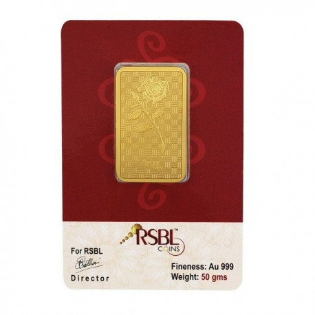 Gold Bar 50 Grams 24Kt Gold 999 Purity Fineness - 50 gm / 50 gms