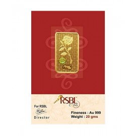 Gold Bar 20 Grams 24Kt Gold 999 Purity Fineness - 20 gm / 20 gms
