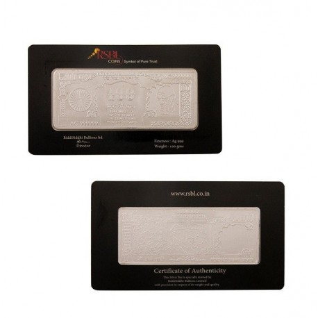 RSBL Silver Note of 100 Grams in 24Kt 999 Purity