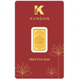 Kundan Ganesha Gold Bar Of 1 Grams in 24 Karat 999.9 Purity / Fineness