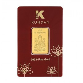 Kundan Lakshmi Gold Bar Of 10 Grams in 24 Karat 999.9 Purity / Fineness
