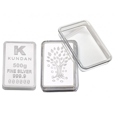 Kundan Kalpataru Silver Bar of 500 Gram in 999 Purity / Fineness in Capsule Packing