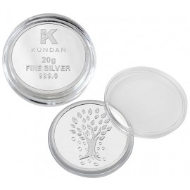 Kundan Kalpataru Tree Silver Coin Of 20 Gram in 999 Purity / Fineness in Certi Card