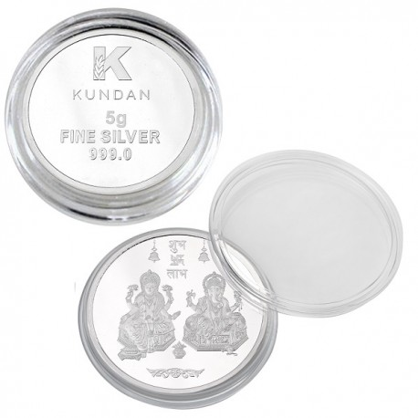 Kundan Lakshmi Ganesh Silver Coin of 5 Gram in 999 Purity / Fineness