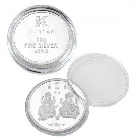 Kundan Lakshmi Ganesh Silver Coin of 10 Gram in 999 Purity / Fineness
