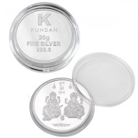 Kundan Lakshmi Ganesh Silver Coin Of 20 Gram in 999 Purity / Fineness in Certi Card