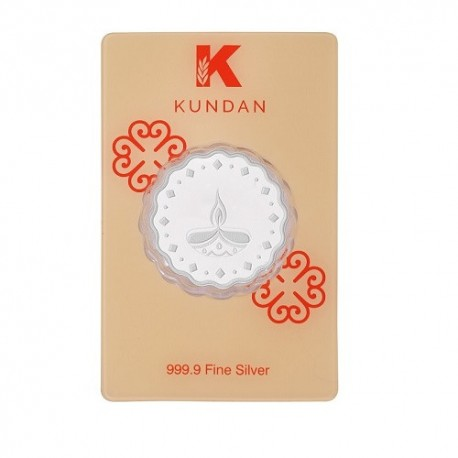 Kundan Diya Silver Coin of 10 Gram in 999 Purity / Fineness
