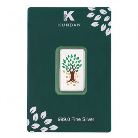 Kundan Kalpataru Tree Color Silver Bar Of 10 Gram in 999 Purity / Fineness
