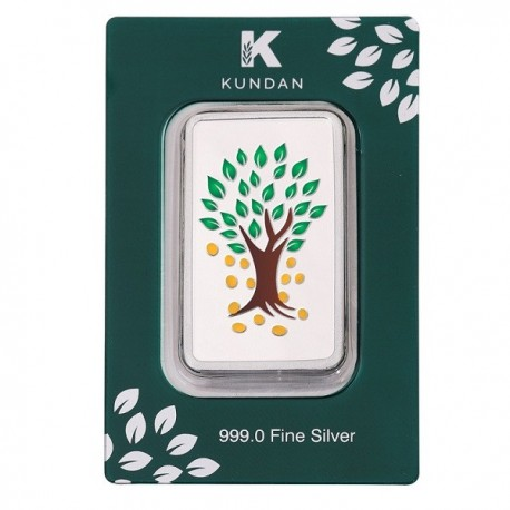 Kundan Kalpataru Tree Color Silver Bar Of 100 Gram in 999 Purity / Fineness in Certi Card