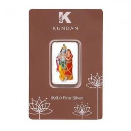 Kundan Radha Krishna Color Silver Bar of 50 Gram in 999 Purity / Fineness in Certi Card