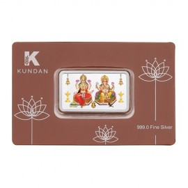 Kundan Lakshmi Ganesha Color Silver Bar Of 10 Gram in 999.9 Purity / Fineness