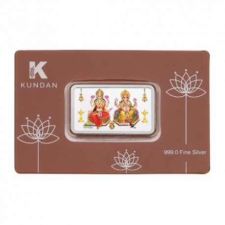 Kundan Lakshmi Ganesha Color Silver Bar of 50 Gram in 999 Purity / Fineness in Certi Card