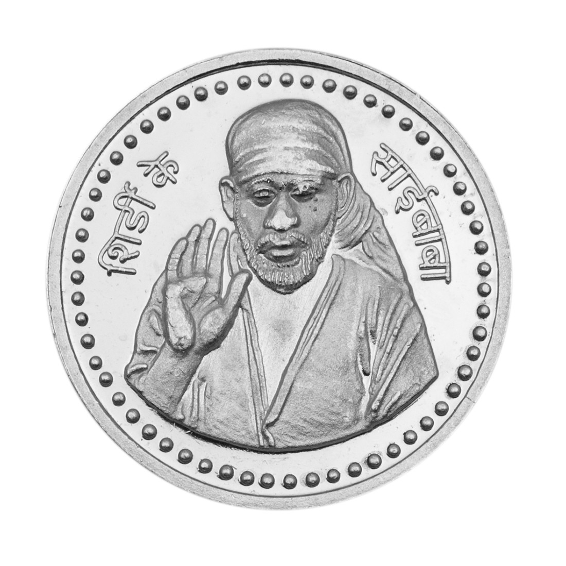 Buy Sai Baba Silver Coin Of 5 Gram In 999 Purity