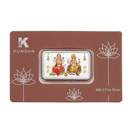 Kundan Lakshmi Ganesha Color Silver Bar Of 100 Gram in 999 Purity / Fineness in Certi Card