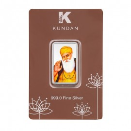 Kundan Color Gurunanak Dev Silver Bar of 20 Gram in 999 Purity / Fineness in Certi Card