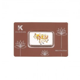Kundan Color Kamdhenu Cow Silver Bar of 50 Gram in 999 Purity / Fineness in Certi Card