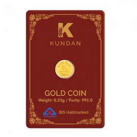Kundan Gold Coin Of 0.25 Grams in 24 Karat  995 Purity / Fineness
