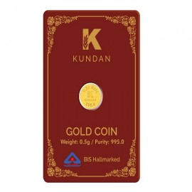 Kundan Gold Coin Of 0.5 Grams in 24 Karat 995 Purity / Fineness