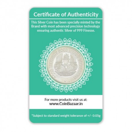 Zarathushtra Silver Coin of 5 Gram in 999 Purity / Fineness
