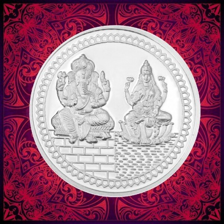 Lakshmi Ganesh Silver Coin of 10 gm in 999 Purity/Fineness