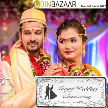 Happy Wedding Anniversary Silver Note Of 10 Gram in 999 Purity