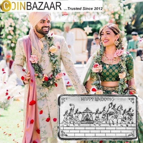 Happy Wedding Silver Note Of 20 Gram in 999 Purity