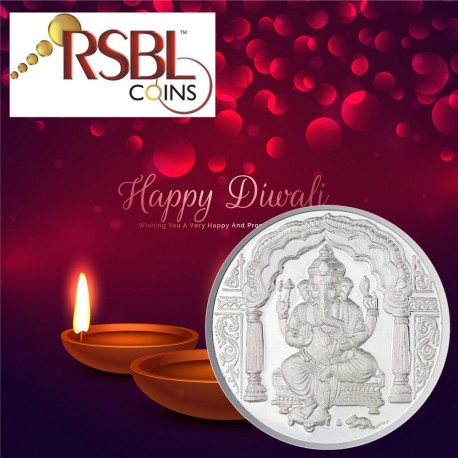 RSBL Shree Ganesh Silver Coin of 20 Gram in 999 Purity / Fineness