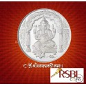 RSBL Shree Ganesh Silver Coin of 50 Gram in 999 Purity / Fineness