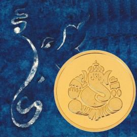 Kundan Ganesha Gold Coin Of 4 Grams in 24 Karat  999.9 Purity / Fineness