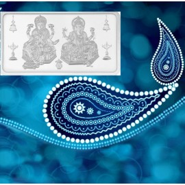 Kundan Lakshmi Ganesha Silver Bar of 50 Gram in 999 Purity / Fineness in Certi Card