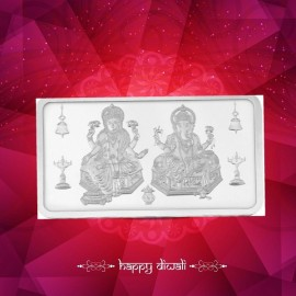 Kundan Lakshmi Ganesha Silver Bar Of 100 Gram in 999 Purity / Fineness in Certi Card