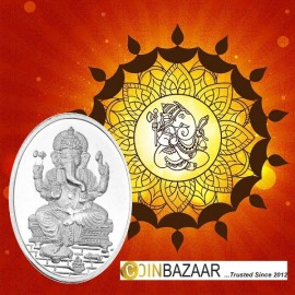 Oval Shape Ganesh Silver Coin of 25 gm in 999 Purity / Fineness By Coinbazaar