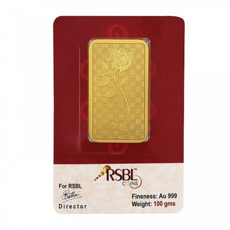 RSBL Gold Bar 100 Grams 24Kt Gold 999 Purity Fineness