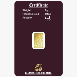 Gujarat Gold Centre Gold Bar Of 1 Gram 24Kt in 999 Purity / Fineness