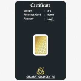 Gujrat Gold Centre Gold Bar Of 2 Gram 24Kt in 999 Purity / Fineness