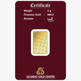 Gujrat Gold Centre Gold Bar Of 5 Gram 24Kt in 999 Purity / Fineness