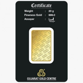 Gujrat Gold Centre Gold Bar Of 20 Gram 24Kt in 999 Purity / Fineness