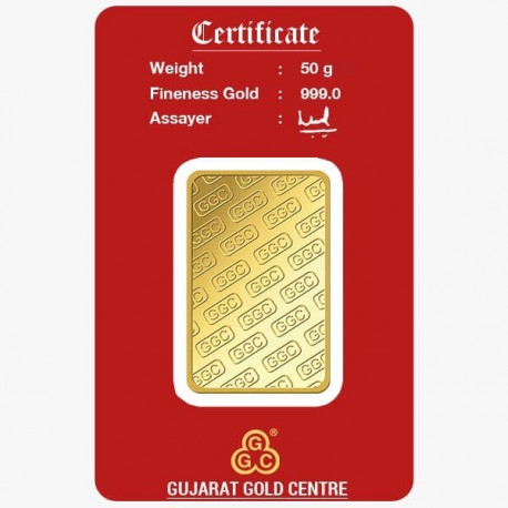 Gujrat Gold Centre Gold Bar Of 50 Gram 24Kt in 999 Purity / Fineness